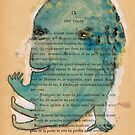 Blue Monoprint Monster by benconservato