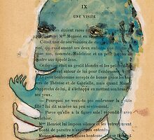 Blue Monoprint Monster by benconservato