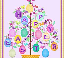 Happy Easter Egg Tree Art Poster Print by Jamie Wogan Edwards