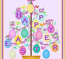 Happy Easter Egg Tree Art Poster Print by Jamie Wogan Edwards