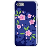 Pink Cherry Blossoms on Blue iPhone Case/Skin
