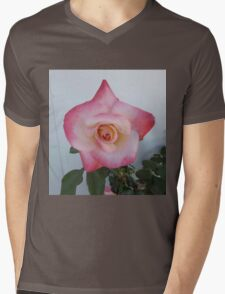 Pink Rose Mens V-Neck T-Shirt
