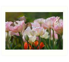 Bunnies and Tulips Art Print