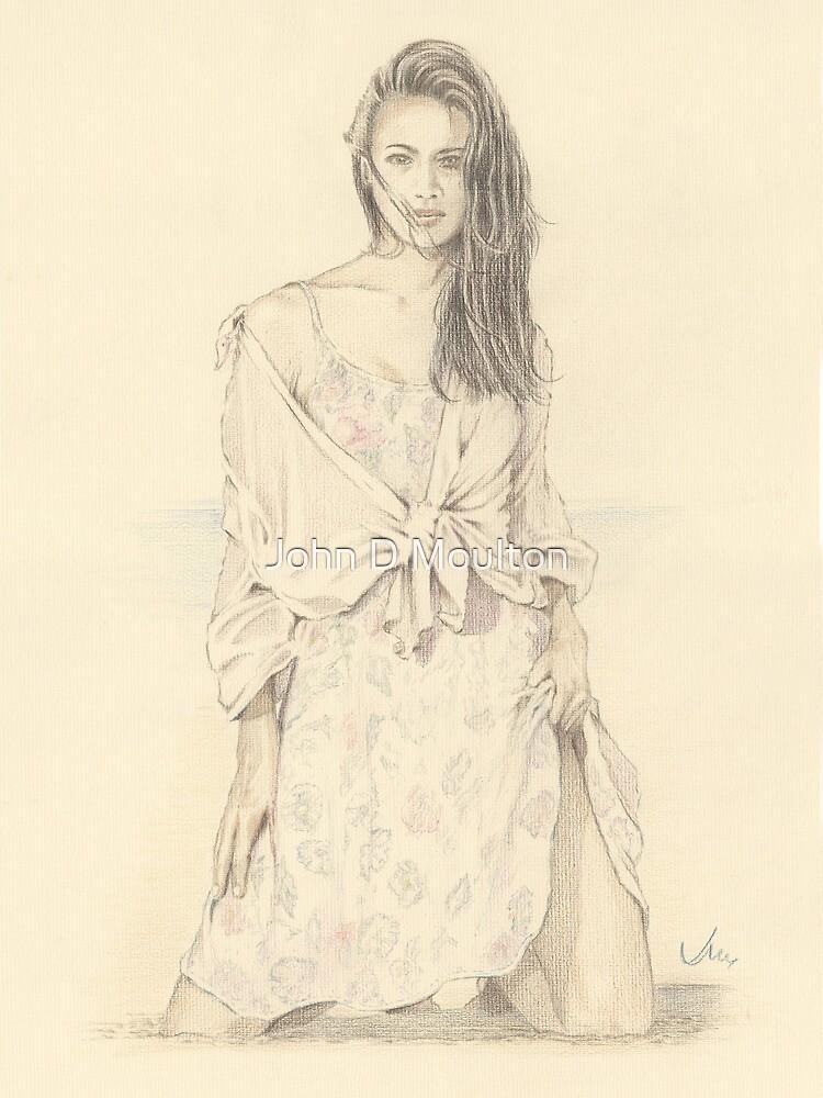 """""""Elise"""" Colour Pencil Artwork by John D Moulton"""