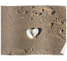 Heart Shaped Pebble - Seaham Beach Poster