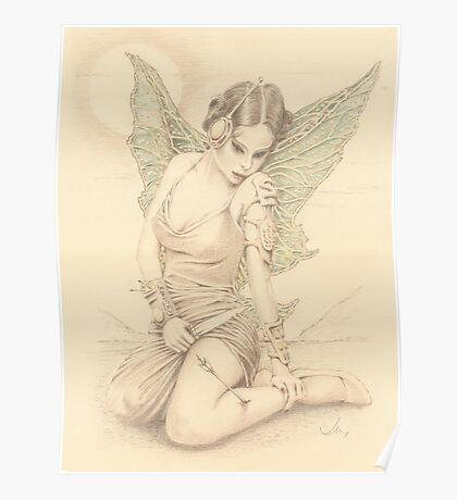 """Fairy Warrior"" Colour Pencil Artwork Poster"