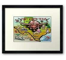 Fort Worth TEXAS Cartoon Map Framed Print