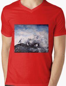 Seagulls on the rocks Mens V-Neck T-Shirt
