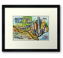 Houston TEXAS cartoon map Framed Print