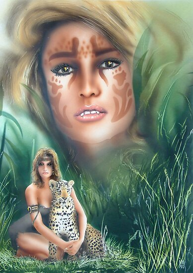 """She Cat"" Water Colour Airbrush Artwork by John D Moulton"