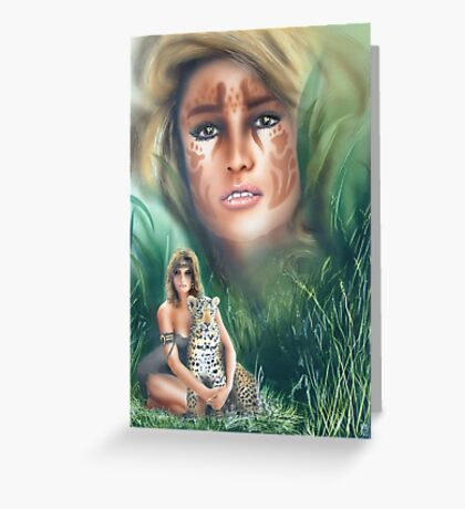 """""""She Cat"""" Water Colour Airbrush Artwork Greeting Card"""