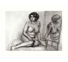 woman with a mirror Art Print