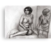 woman with a mirror Canvas Print