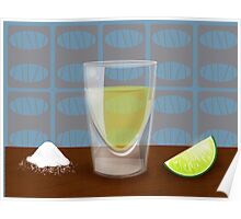 Tequila shot with salt and lime Poster