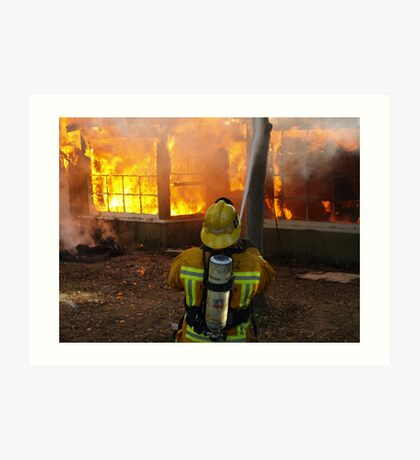 Firefighter from Engine 44 working at a training fire, image 2 Art Print