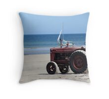 tractor on the beach Throw Pillow