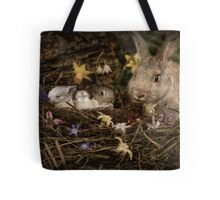 Mrs. Cottontail And The Kids Tote Bag