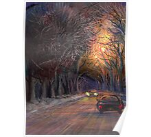 winter night on a road Poster
