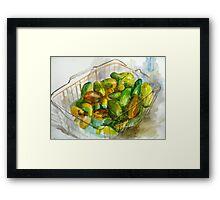 cucumbers in a basket still Framed Print