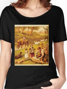 Aunt Louisa's Nursery Favorite by Laura Valentine art Kate Greenaway 1870 0144 Sheep Shearing Women's Relaxed Fit T-Shirt