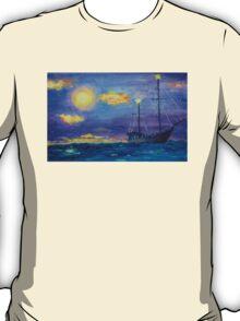 Single Boat On Moonlit Waters T-Shirt