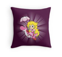 Yoshi and Chibi Peach Throw Pillow