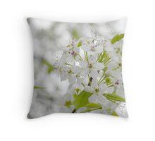 White Spring Blossoms Throw Pillow