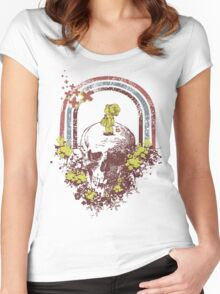 Skull With Kid Design T-Shirt Women's Fitted Scoop T-Shirt