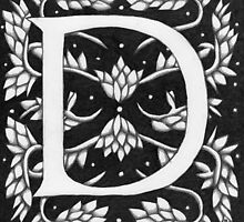 "Art Nouveau ""D"" (W Morris inspired) Ebay listed by Donna Huntriss"