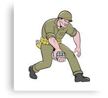 World War Two Soldier American Grenade Cartoon Canvas Print