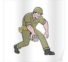 World War Two Soldier American Grenade Cartoon Poster
