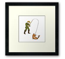 Fly Fisherman Catching Trout Fish Cartoon Framed Print