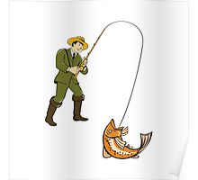 Fly Fisherman Catching Trout Fish Cartoon Poster
