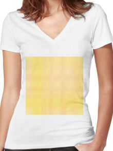 269. Yellow-Peach Plaid Women's Fitted V-Neck T-Shirt