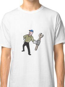 Mechanic Presenting Wrench Cartoon Classic T-Shirt
