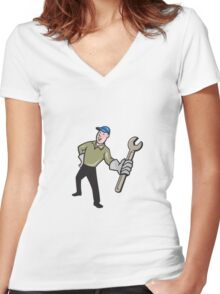 Mechanic Presenting Wrench Cartoon Women's Fitted V-Neck T-Shirt