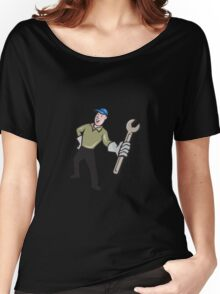 Mechanic Presenting Wrench Cartoon Women's Relaxed Fit T-Shirt