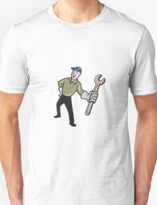 Mechanic Presenting Wrench Cartoon T-Shirt