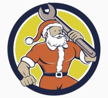 Santa Claus Mechanic Spanner Circle Cartoon by patrimonio