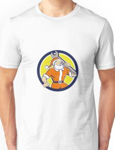 Santa Claus Mechanic Spanner Circle Cartoon Unisex T-Shirt