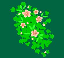 Cherry Blossom - Forest Green Womens Fitted T-Shirt