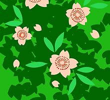 Cherry Blossom - Forest Green by Colleen Hernandez