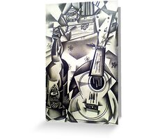 Still-life Ukulele and beer drawing Greeting Card