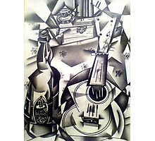 Still-life Ukulele and beer drawing Photographic Print