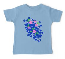 Pink Cherry Blossoms on Blue Baby Tee