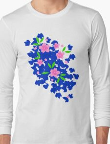 Pink Cherry Blossoms on Blue Long Sleeve T-Shirt