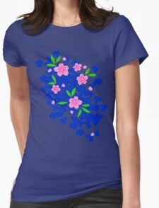 Pink Cherry Blossoms on Blue Womens Fitted T-Shirt