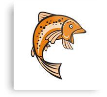 Trout Rainbow Fish Jumping Up Cartoon Metal Print