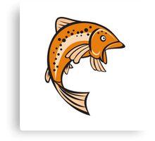 Trout Rainbow Fish Jumping Up Cartoon Canvas Print
