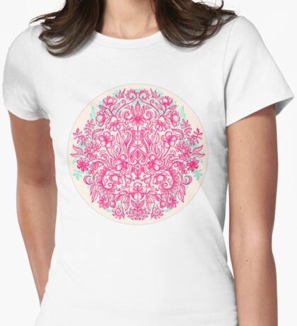 Spring Arrangement - floral doodle in pink & mint Womens Fitted T-Shirt